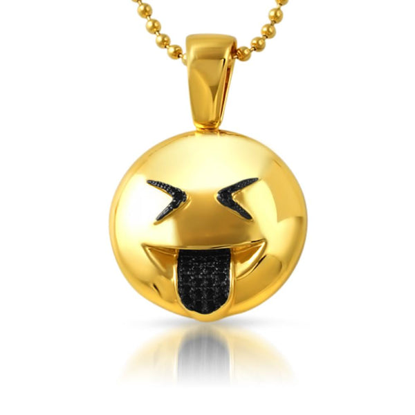 Emoji Sticking Out Tongue Face CZ Gold Bling Bling Pendant