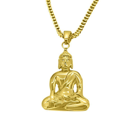 Gold Buddha Head Pendant Stainless Steel