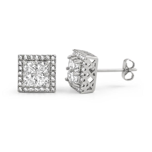 Princess Cut Square Cluster Rhodium CZ Hip Hop Earrings