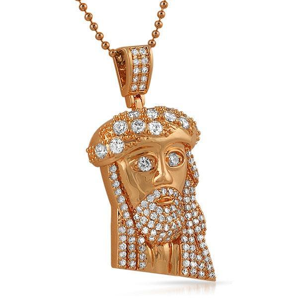 Mini Jesus Pendant Big Ice Crown Rose Gold