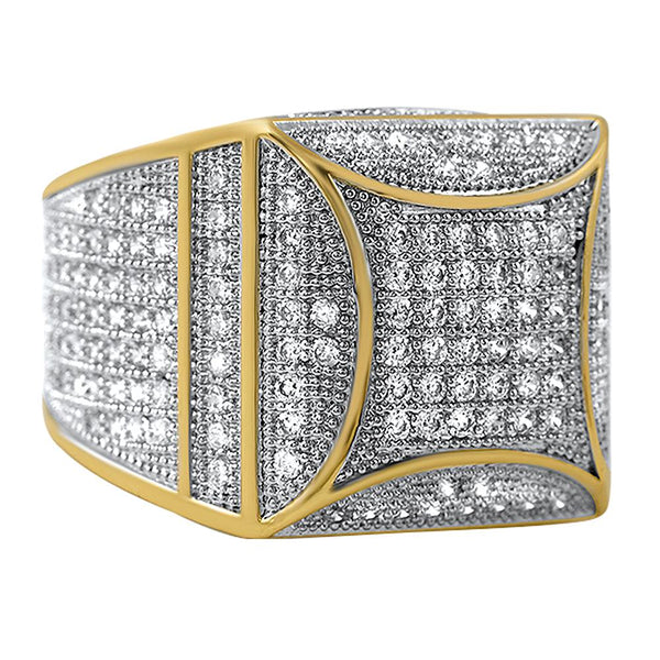 Kite Box Bling Bling Gold CZ Micro Pave Ring