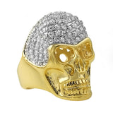 Custom Skull Gold Pave CZ Bling Bling Ring