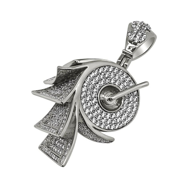 .925 Silver Money on a Roll Rhodium CZ Bling Bling Pendant
