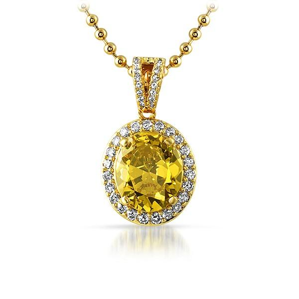 .925 Silver Gold Oval Yellow Gem Iced Out Pendant