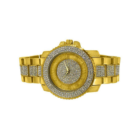 Full Bling Bling Gold Sports Watch