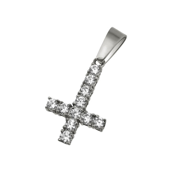 Upside Down Cross 3MM CZ Tennis Pendant Bling NO FADE Steel