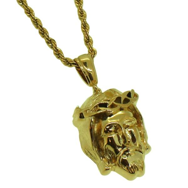 Thick Gold Mini Jesus Pendant & Rope Set Bling Master