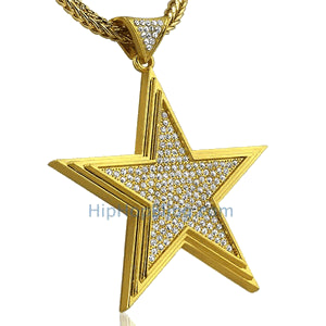 Gold Super Star Bling Bling Pendant