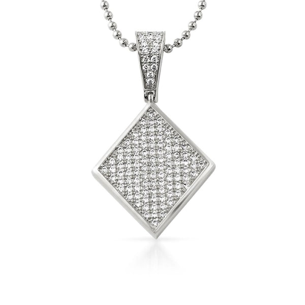 Poker Diamond CZ Rhodium Bling Bling Pendant