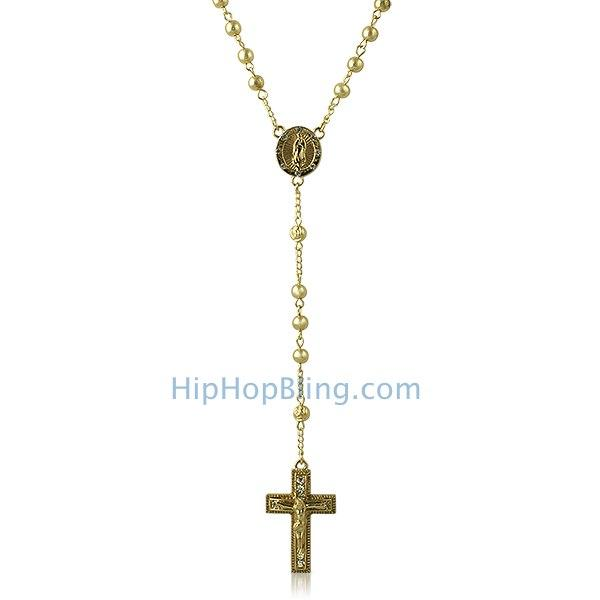 Hip Hop Rosary Necklace Gold