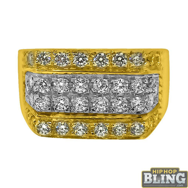 10K Yellow Gold CZ Ice Bars Bling Mens Ring