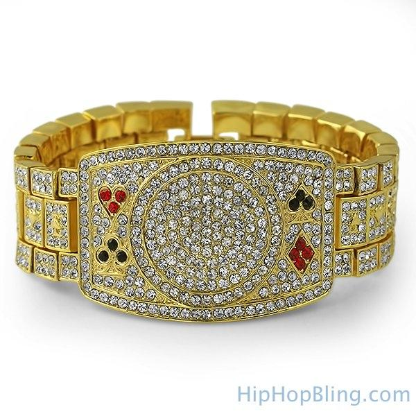 Texas Hold Em Poker Gold Bling Bling Bracelet