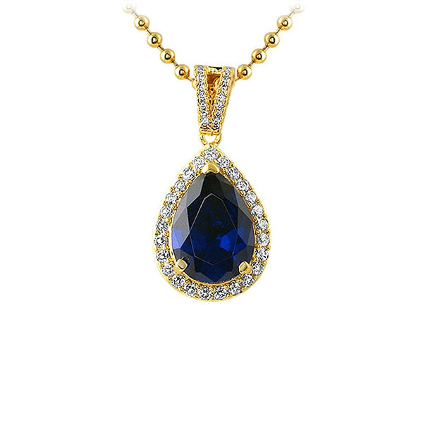 Pear Cut Lab Sapphire Gem Gold Iced Out Pendant