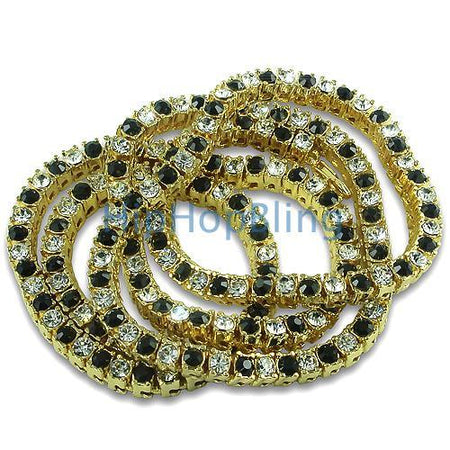 Black and Yellow Iced Out Cluster Chain 750 Stones!!!