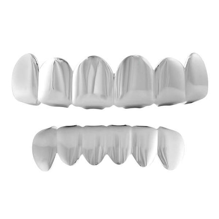 Black / White Double Row Bling Silver Grillz Top Bottom Set