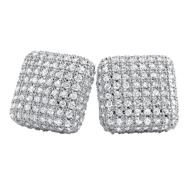 XL 3D Rounded Box CZ Bling Bling Earrings