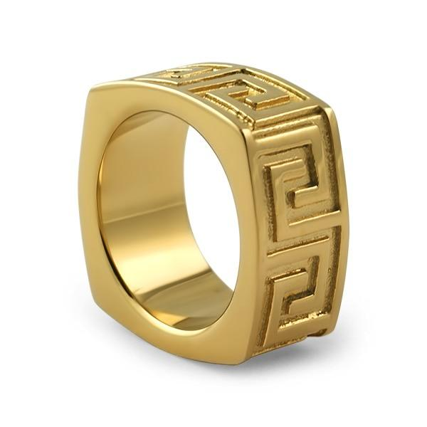 Gold Greek Link Stainless Steel Ring
