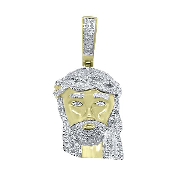 Mini Diamond Jesus Pendant .43cttw Gold .925 Silver