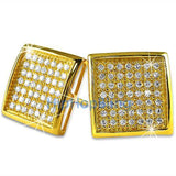XL Deep Dish Box Gold Vermeil CZ Iced Out Micro Pave Earrings .925 Silver