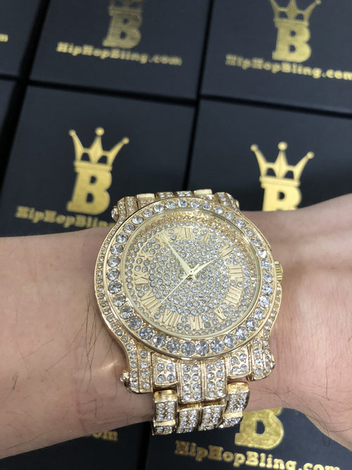 Amazing Bling Bling Gold Hip Hop Watch