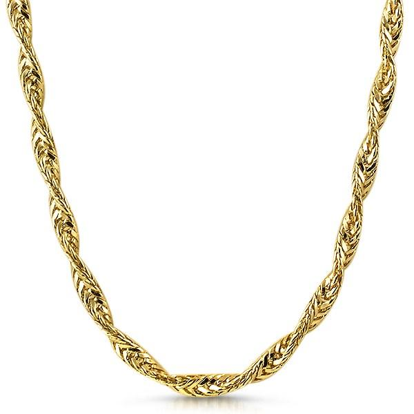 Twisted Foxtail Gold Plated Hip Hop Chain