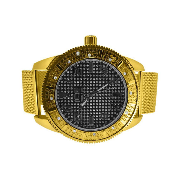 Black Dial Sporty Gold Mesh Band Fashion Watch