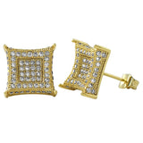 XL 3D Box Kite Gold CZ Bling Bling Earrings