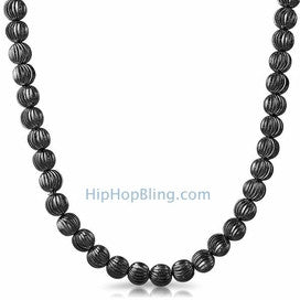 8MM Moon Cut Black Chain Necklace