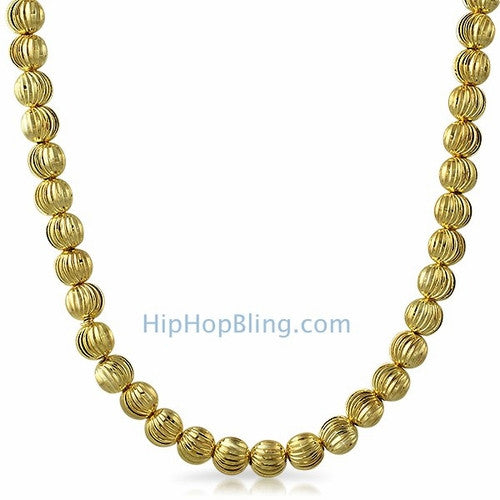 8MM Moon Cut Gold Chain Necklace