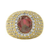 Lab Ruby Masterpiece Bling Bling Micro Pave Ring