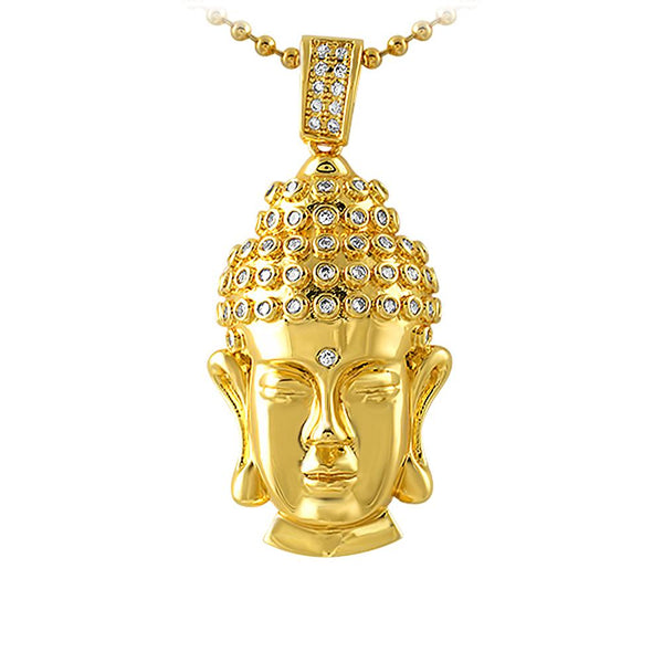 Clean Buddha Head CZ Gold Hip Hop Pendant