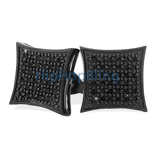 All Black Large Silver Micro Pave CZ Bling Earrings