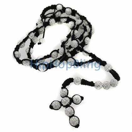 Bling Bling High End White Disco Ball Rosary Necklace