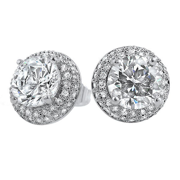 Solitaire CZ Center Micro Pave Border Earrings