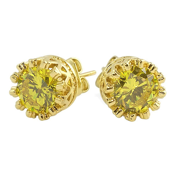 Gold Crown Round Canary CZ Bling Bling Earrings