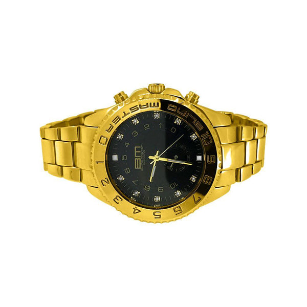 Real Diamond Gold with Black Dial Yacht Hip Hop Watch