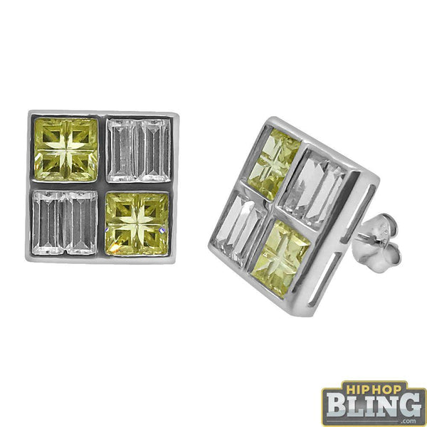 .925 Silver Baguette Yellow Princess Box Earrings