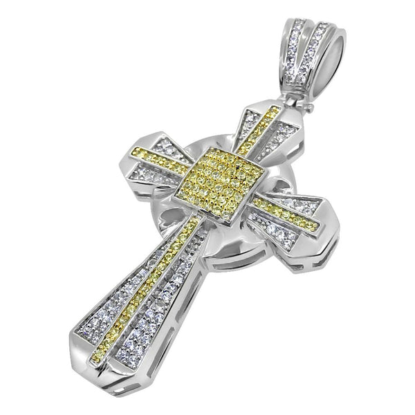 Canary and White Bling Bling CZ Cross Pendant
