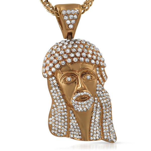 Rose Bling Bling Big 3D Jesus Piece