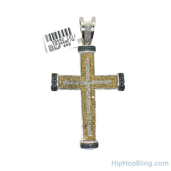 3 Color Diamond Large Mens Cross 1.79 Carats
