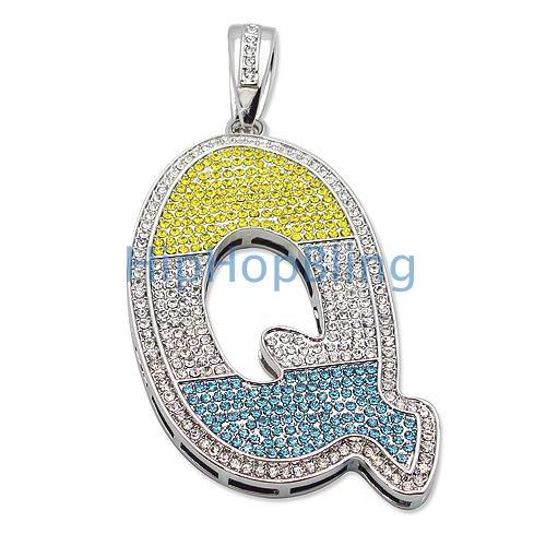 Q Iced Out Initial Color Graffiti Custom Pendant