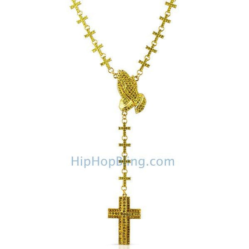 Bling Cross Links Lemonade Praying Hands Rosary Necklace