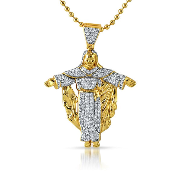 Jesus Crucifix Mini Micropave CZ Gold Pendant