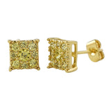 Square Cluster CZ Lemonade Bling Bling Earrings