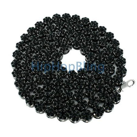 Cluster Chain White Center Black Bling Bling Necklace