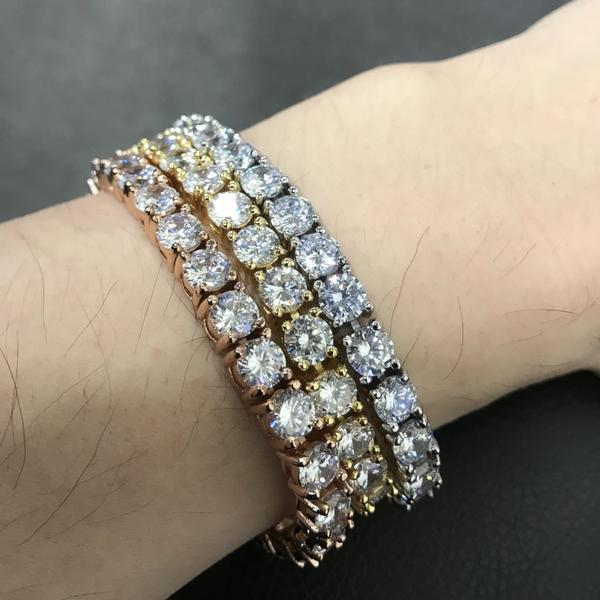 6MM CZ 1 Row Bling Bling Tennis Bracelet Gold