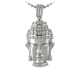 Clean Buddha Head CZ Rhodium Pendant
