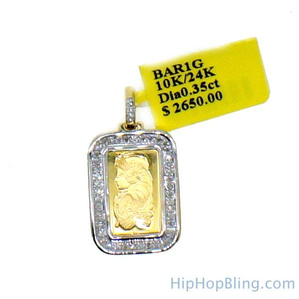Custom 1g PAMP Suisse Fine Gold Bar Diamond Pendant