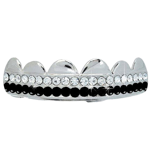Black / White Double Bling Bling Grillz Silver Teeth