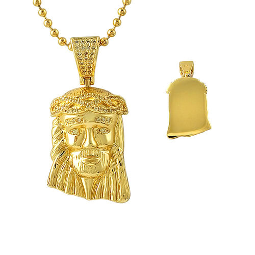 Detailed Gold Micro Jesus Canary CZ Crown Pendant